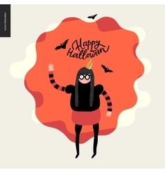 Happy Halloween with a waving girl vector