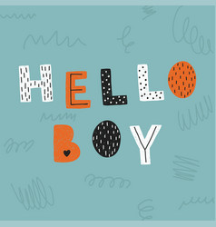 Hello boy poster banner template vector