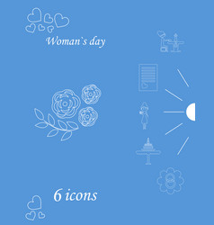 i love you womens doodle 6 icon in set of womens vector image