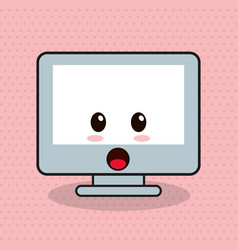 kawaii computer facial expression vector image