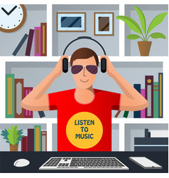 man putting on headphones to listen to music vector image