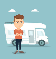 Man standing in front of motor home vector