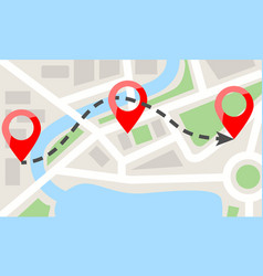 map template with red pins flat color style vector image