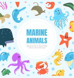 marine animals banner underwater world poster vector image