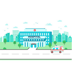 medical center building on background city vector image