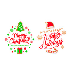 merry christmas and winter holidays greeting card vector image