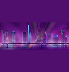 metropolis downtown night landscape cartoon vector image