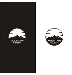 Mountain and sun emblem adventure logo design vector