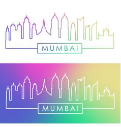 Mumbai skyline colorful linear style editable vector