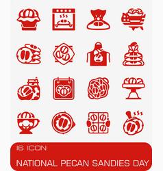 National pecan sandies day icon set vector