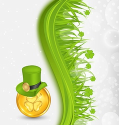 Natural background with coin hat shamrocks grass vector