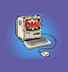 omg vintage retro computer vector image