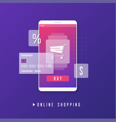 Online shopping e-commerce mobile payment vector