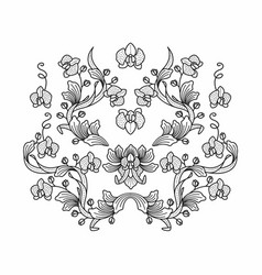 orchid foliage pattern in batik style vector image