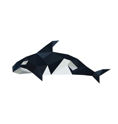 Origami orca dolphin isolated on white background vector