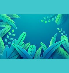 Paper spring leaves banner paper cut style vector