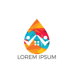 people home and water drop logo design vector image