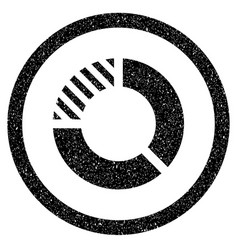 Pie chart rounded icon rubber stamp vector