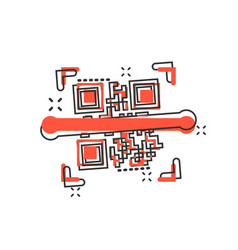 qr code scan icon in comic style scanner id vector image