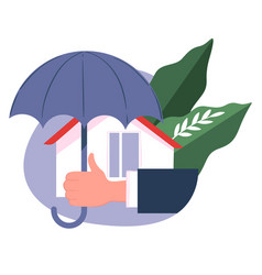 real estate insurance house under umbrella vector image
