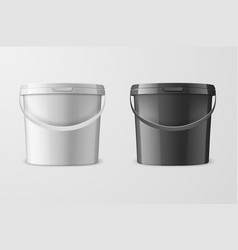Realistic 3d white and black plastic bucket vector