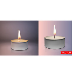 realistic round wax tealight candles set vector image