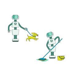Robot doing housework set - android washing floor vector