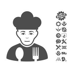 Sad Cook Icon With Tools Bonus vector image