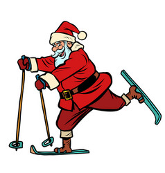 santa claus goes skiing christmas and new year vector image