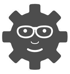 Service gear glad smile flat icon vector