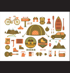 set camping tools vector image