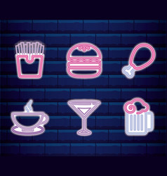 set fast food neon light label vector image