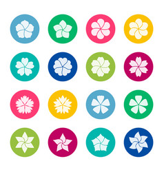 set flower icons on color background vector image