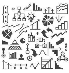 set of drawing graphs and symbols vector image