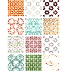 Set seamless geometric patterns - circles swirls vector image