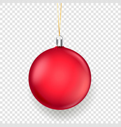 shining matte red christmas bauble isolated on vector image