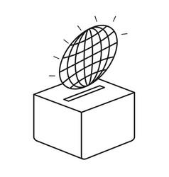 Silhouette flat globe earth world chart depositing vector
