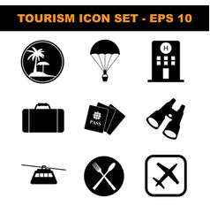 simple set tourism journey related glyph vector image