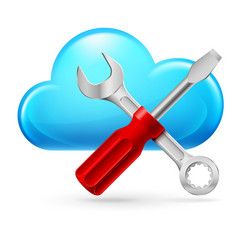 single cumulus cloud and tools on white vector image