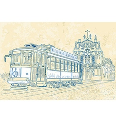 Sketch of a Tram and a Church vector