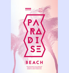 summer party poster with palm trees silhouettes vector image