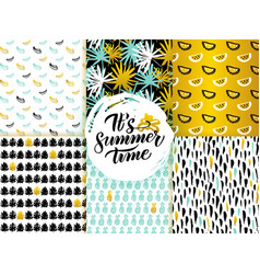 summer time seamless patterns vector image