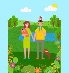 summer vacation father and mother with child vector image