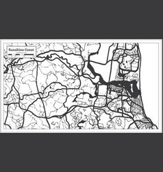 Sunshine coast australia city map in black and vector