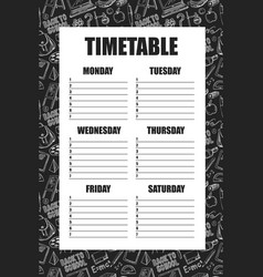 Timetable for schools lessons with backpack vector