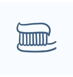 Toothbrush with toothpaste sketch icon vector image
