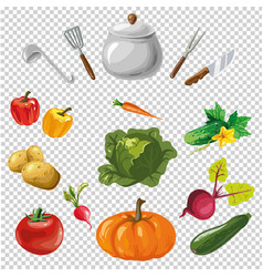 various utensils and vegetables on vector image