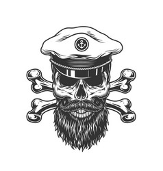 Vintage bearded and mustached skull vector