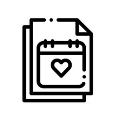 Wedding day on calendar page sign icon vector