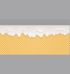 Yoghurt melted on wafer background yogurt flow vector